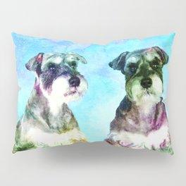 Miniature Schnauzer dogs Watercolor Digital Art Pillow Sham