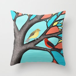 scarlet tanagers in the stained glass tree Throw Pillow
