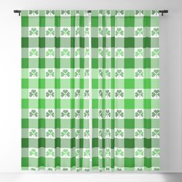 Shamrock Gingham Plaid Ombre Blackout Curtain