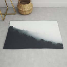 Fog over forest diagonal layers Rug