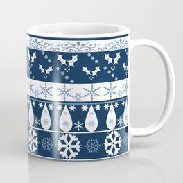 Retro . Christmas pattern . Blue background . Coffee Mug