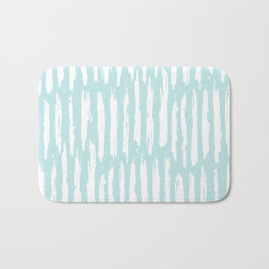 Vertical Dash Stripes White on Succulent Blue Bath Mat
