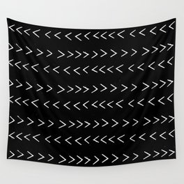 mudcloth 14 minimal textured black and white pattern home decor minimalist beach Wall Tapestry