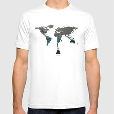 greed MEDIUM White Mens Fitted Tee
