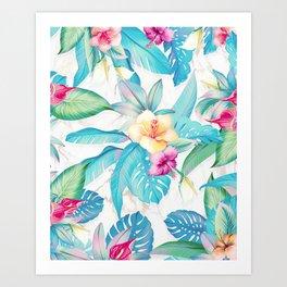 Blue tropical flowers Art Print