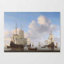 Dutch Ships In A Calm Canvas Print