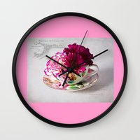 shabby chic Wall Clocks featuring Shabby chic floral by inkedsandra