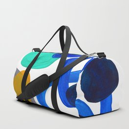 Minimalist Abstract Mid Century Modern Expressionist Organic Pattern Colorful Blue Aquamarine Teal Duffle Bag