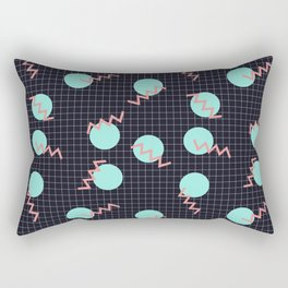 Cyan Circles and Pink Sharp Angled Lines on Dark Grid Pattern Rectangular Pillow