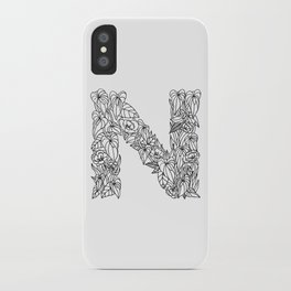 Floral Type - Letter N iPhone Case