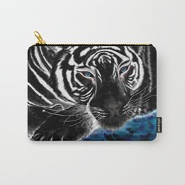 The black tiger with silver whiskers weeps over the world .. Carry-All Pouch