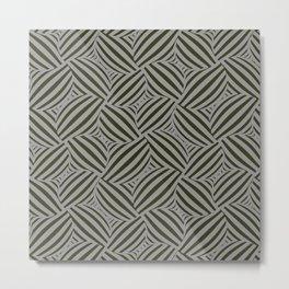 3d Cross Hatch Black & Gray Metal Print