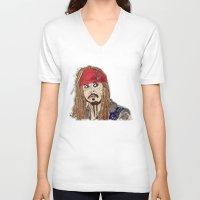 jack sparrow V-neck T-shirts featuring Jack Sparrow - Pirates - Carribbean - JonnyDepp - Depp by Matty723