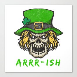 Arrr-ish St Patrick's Day Irish Pirate Leprechaun Skull Canvas Print