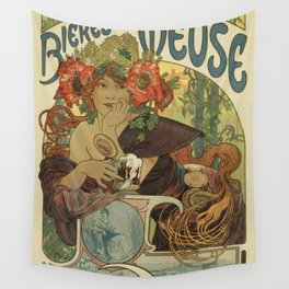 Alfons Mucha art nouveau beer ad Wall Tapestry