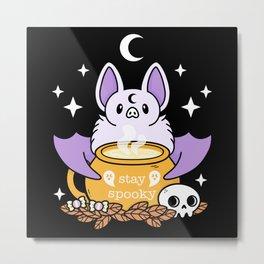 Stay Spooky | Nikury | Cute Halloween Bat // Black Metal Print
