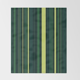 Yellow and Shades of Green Stripes Throw Blanket