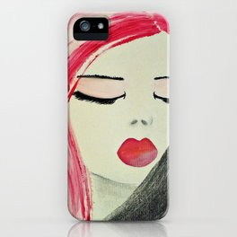 Shy Girl. Abstract Pink Girl. Pink Lips. Pink Hair. Jodilynpaintings. Eyelashes. Gift for All Girls. iPhone Case