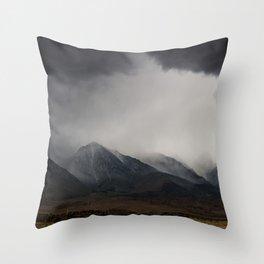 Storm clouds mass over the Sierra Nevadas in California Throw Pillow