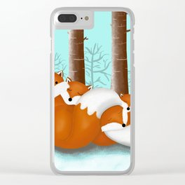 Slepping foxes Clear iPhone Case