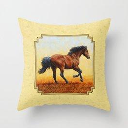 Running Bay Horse Throw Pillow