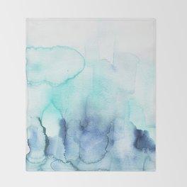 Wanderlust Teal Blue Watercolor Throw Blanket