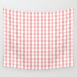 Large Lush Blush Pink and White Gingham Check Wall Tapestry