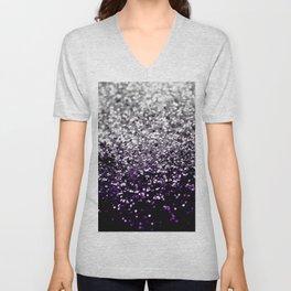 Dark Night Purple Black Silver Glitter #1 #shiny #decor #art #society6 Unisex V-Neck