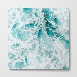 Blue Ocean Foamy Waves Photography Ocean Lover Photo Gift Metal Print