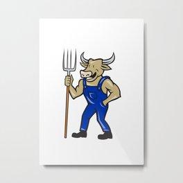 Farmer Cow Holding Pitchfork Cartoon Metal Print