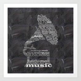 Gramophone on chalkboard Art Print