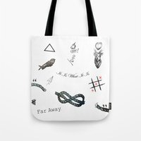 tattoos Tote Bags featuring Louis's Tattoos by Kate & Co.