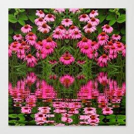 FUCHSIA-PINK ECHINACEA WATER GARDEN Canvas Print