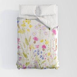 botanical colorful wildflower garden watercolor painting horizontal Comforters