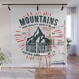 Mountains stamp print design Wall Mural