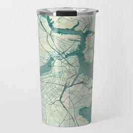 Boston Map Blue Vintage Travel Mug