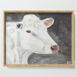 White Cow Serving Tray