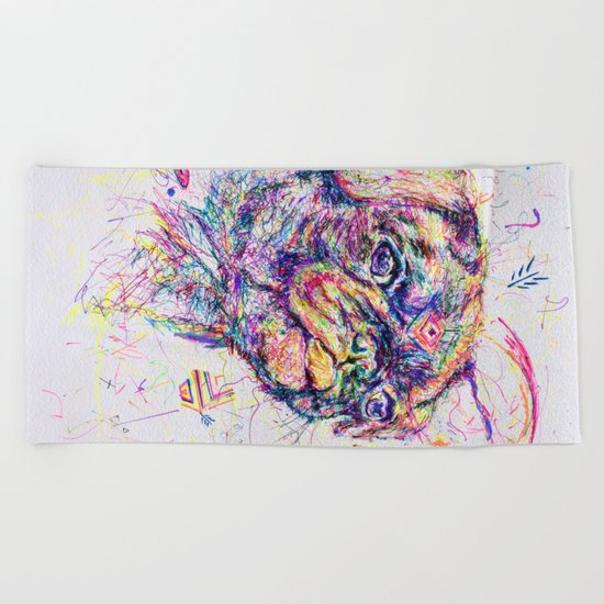 Pug Dog // Pugression Beach Towel