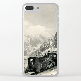 Antique train rack railway near Mont Blanc French Alps Clear iPhone Case