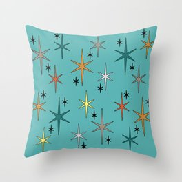 Mid Century Modern Star Sky Turquoise Throw Pillow