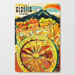 Sicily Italy Vintage Travel Ad Cutting Board