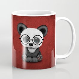 Cute Panda Bear Cub with Eye Glasses on Red Coffee Mug