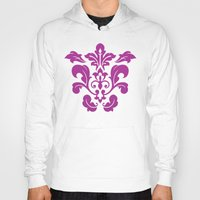 damask Hoodies featuring Fuchsia Damask by Bailey Anderson