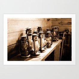 Lanterns Sepia Art Print