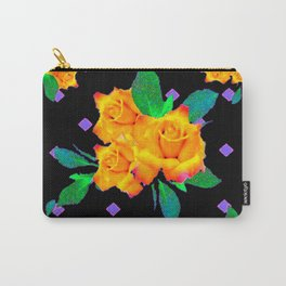 Black & Violet Golden Roses Pattern Carry-All Pouch