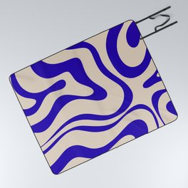 Modern Liquid Swirl Abstract Pattern Square in Cobalt Blue Picnic Blanket