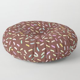 chocolate Glaze with sprinkles. Brown abstract background Floor Pillow