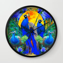 BLUE GREEN PEACOCK YELLOW BLUE ROSE FLORAL PATTERN Wall Clock