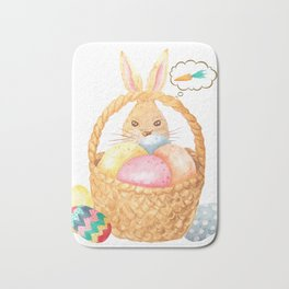 Easter Bunny with eggs Bath Mat