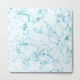 Aqua marine and white faux marble Metal Print